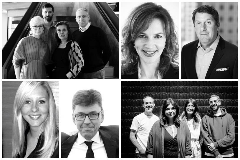 Clockwise from top left: Havas Helia team, Walker, Epstein, Amplify hires, Helm and Graham-Clare