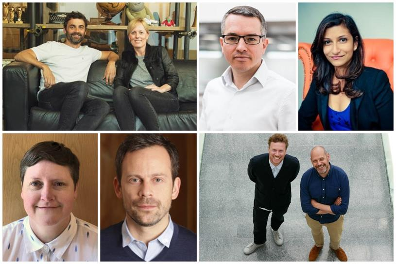 Clockwise from top left: AnalogFolk CEO Bill Brock, Watson, Mackenzie, Majumdar, Fulford, Crosbie, Campopiano and Collier