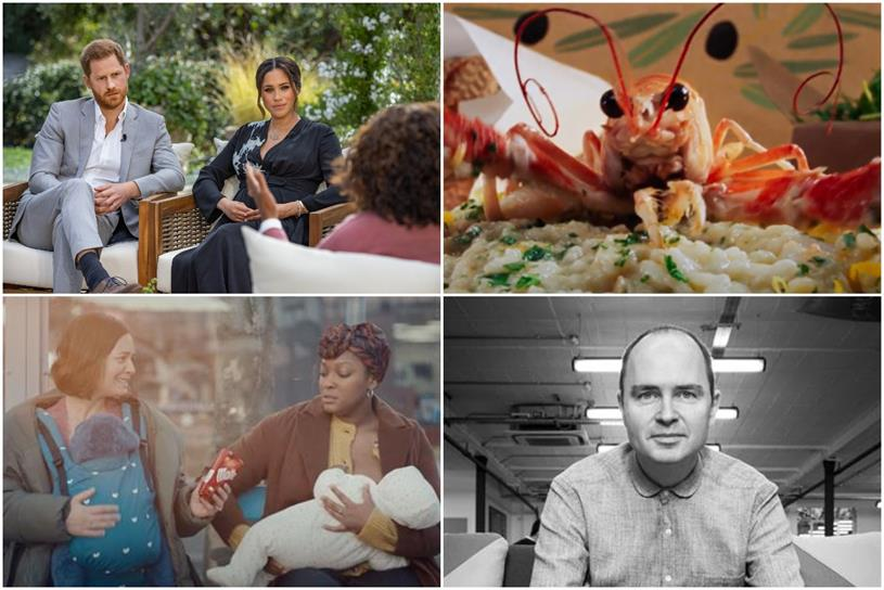 Podcast (from top-left): Harry & Meghan, Deliveroo, Andy Nairn and Maltesers