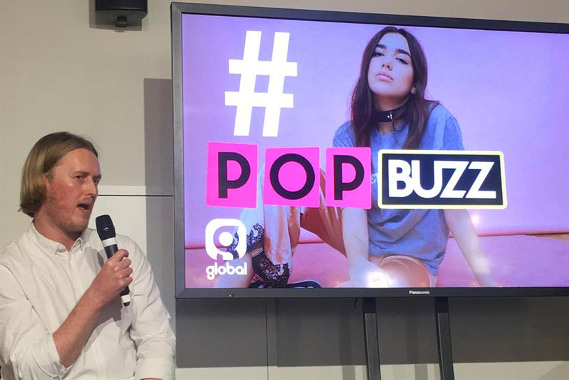 Global's Ubaghs announcing the launch of Popbuzz's weekly Twitter show