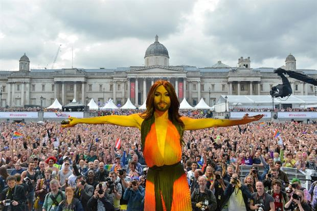 Conchita: the former Eurovision Song Contest winner at Pride London in 2014
