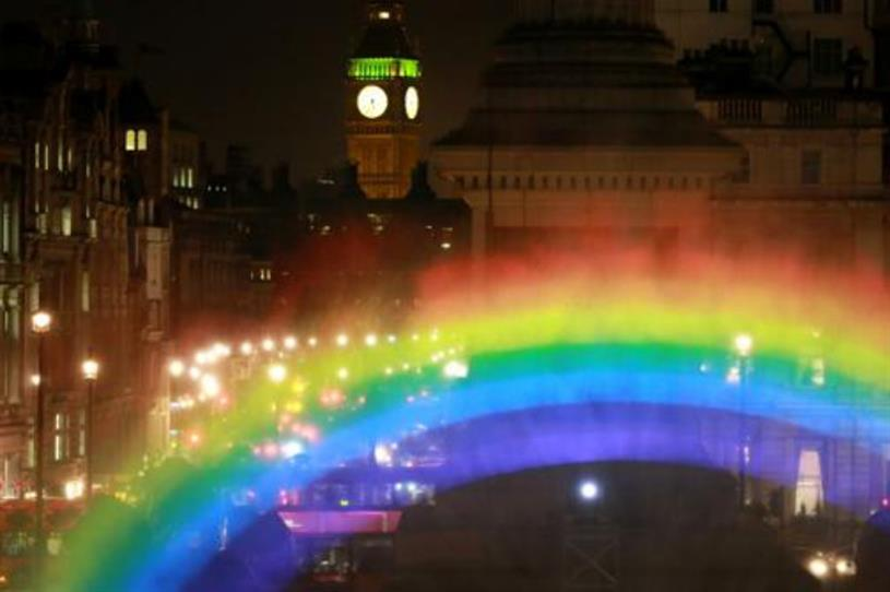 The rainbow was created by arts group Greyworld