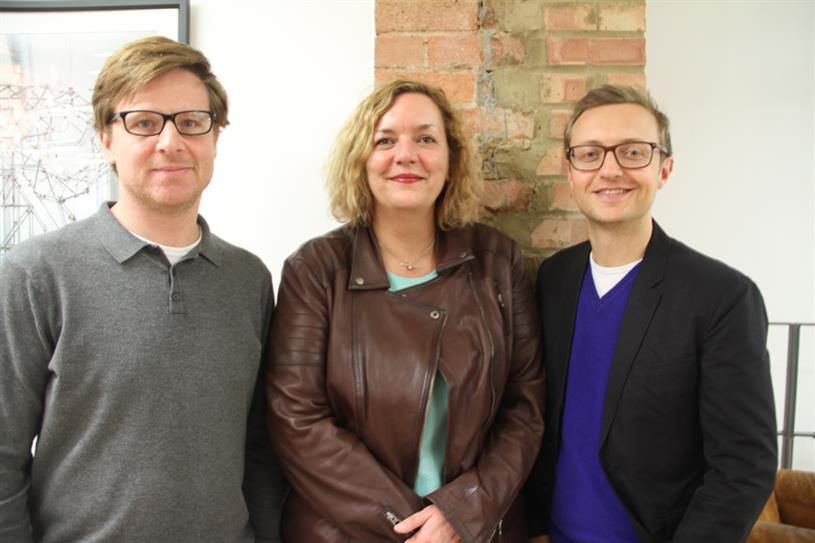 Claire Aldous with Red Brick Road's head of strategy Ben Mitchell (left) and chief executive David Miller