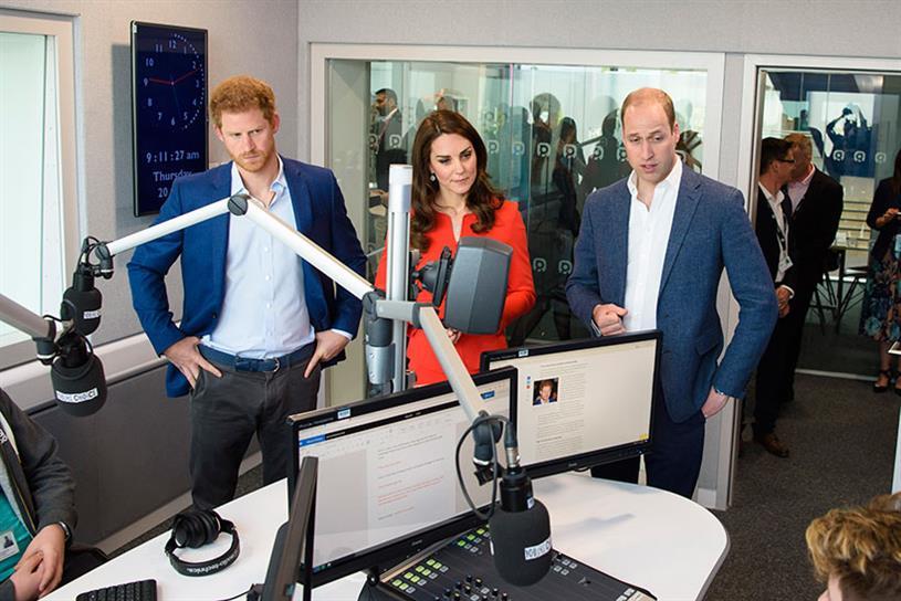 Royals: Prince Harry, left, alongside the Duchess and Duke of Cambridge