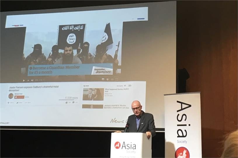 Robert Thomson speaking at the Asia Society Hong Kong Center last night