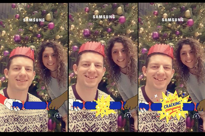samsung is running the first sponsored snapchat animated filter in the uk on christmas day