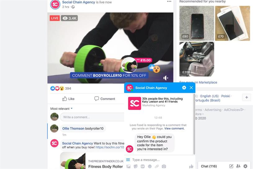 When watching a video live stream, users buy products through a chatbot
