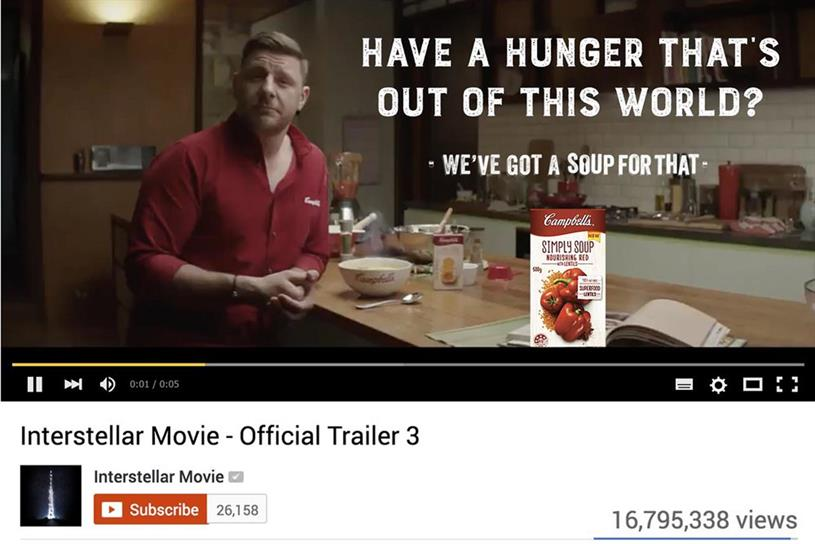 Campbell's tailored its copy in the pre-roll based on the video about to be viewed