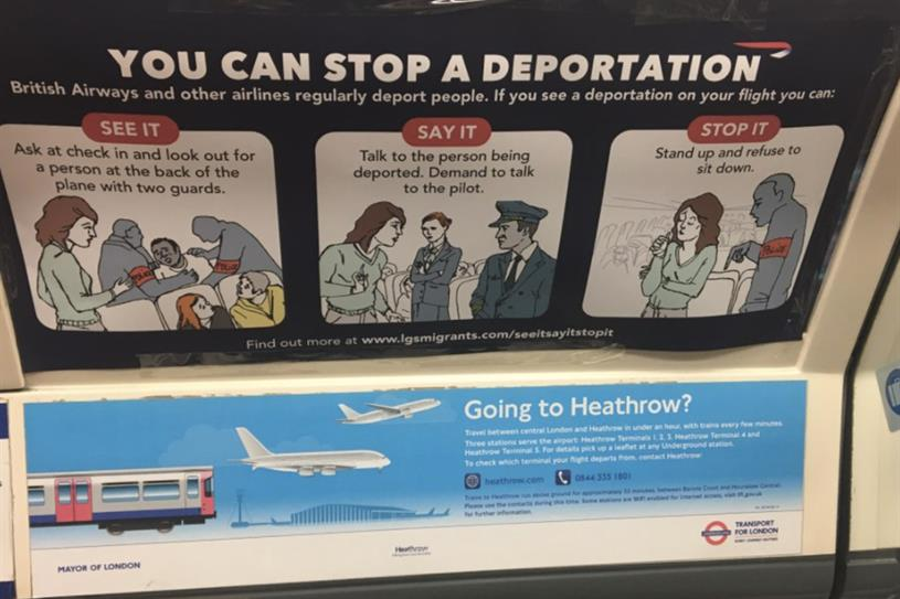 Ads appeared on Tube carriages in central London today (picture: Twitter/@lgsmigrants)