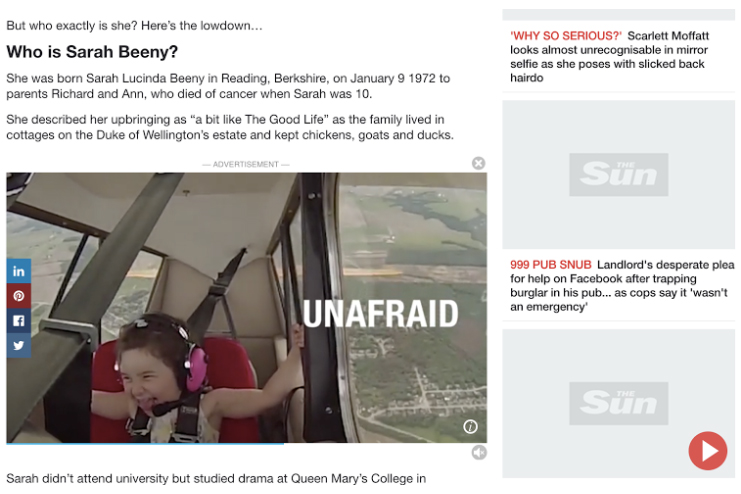 A demo of Unruly's outstream format on The Sun's website