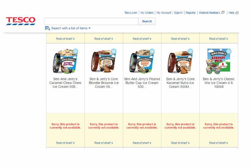 Tesco: running out of key Unilever brands online after spat