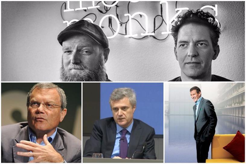 Clockwise from top: MediaMonks' Wesley ter Haar and Victor Knaap; Gustavo Martinez; Mark Read; Sir Martin Sorrell