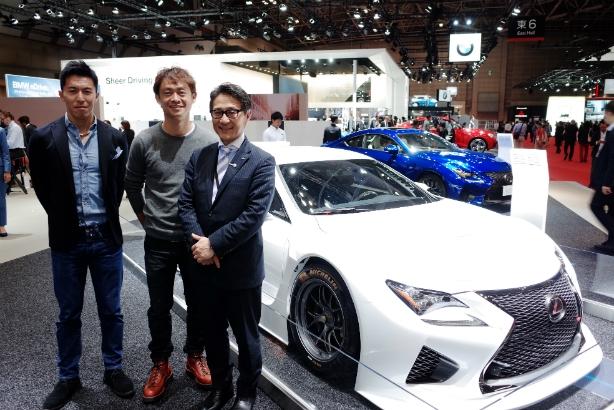 From left: Lexus racing drivers Daisuke Ito and Juichi Wakisaka, and brand management GM Atsushi Takada, at the Tokyo Motor Show 2015.