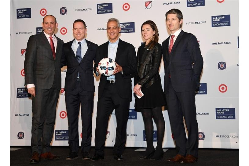 MLS commissioner Don Garber, Chicago Fire owner and chairman Andrew Hauptman, Chicago mayor Rahm Emanuel, Chicago Sports Commissioner Executive Director Kara Bachman and Target VP of Marketing William White (left to right). Photo by Mike DiNovo.