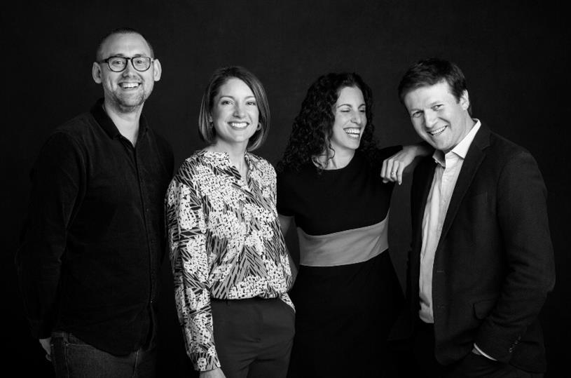 Chief Creative Officer Menno Kluin, NYC President Abbey Klaassen, Chair Sarah Hofstetter, CEO Jared Belsky. Photo credit: Antonio DeLucci/360i.