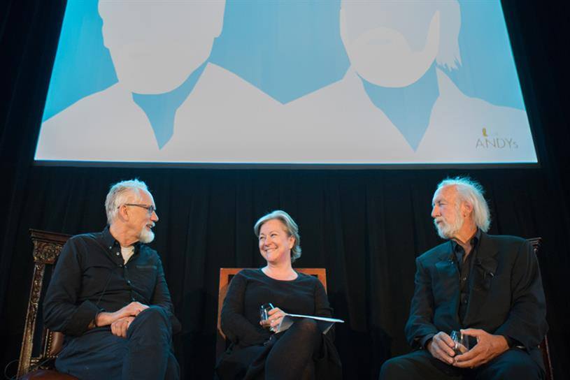From left: Dan Wieden, Colleen DeCourcy and Lee Clow. (Photography by Margarita Corporan)