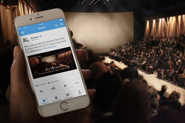 Burberry will use a Tweet-activated camera to photograph models on the catwalk.