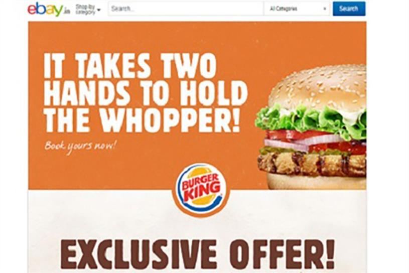 Burger King's first Indian customers can pre-order through eBay.