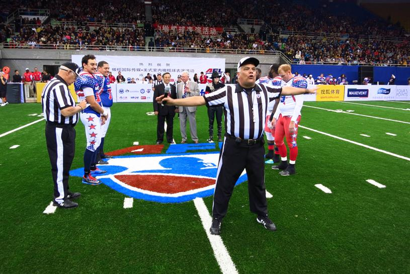 In Beijing, the CAFL held a professional exhibition game of arena football for 10,000 curious spectators.