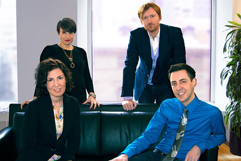 From left to right: DDB New York's Hannah Fishman, Yael Cesarkas, Chris Brown and Joel Nagy.
