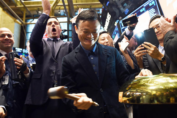 Jack Ma strategically placed eight customers front and center during its IPO photo-op.