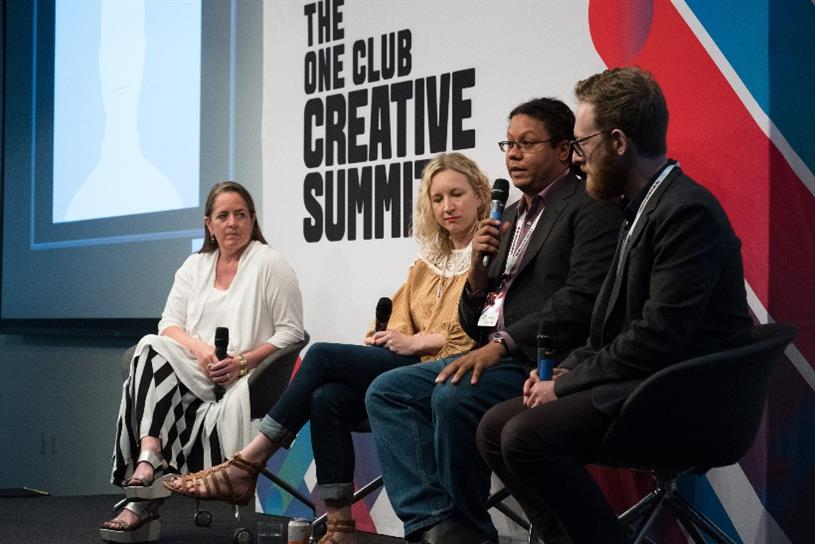 (L to R) Susan Fowler Credle, global CCO at FCB; Gemma Craven, SVP and head of social and mobile at McCann; and Damaso Reyes, director of Partnerships at The News Literacy Project