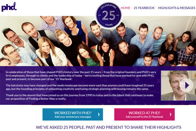PHD marks its 25th year with anniversary microsite