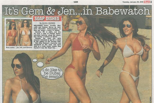 Page 3 replaces topless model with actresses in bikinis.