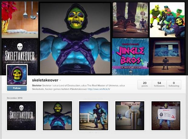 Honda's Skeletor character takes to Instagram.
