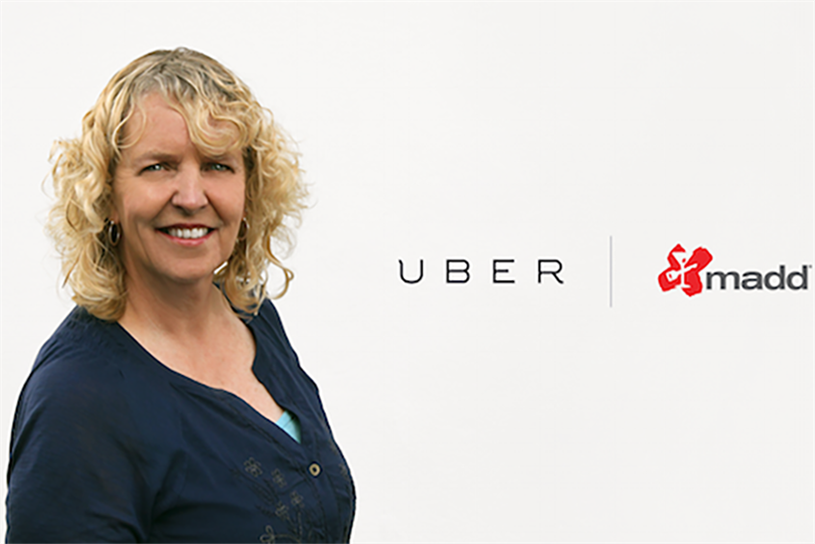 Uber driver and former paramedic Janet Weiser, featured in the company's holiday weekend PSAs.