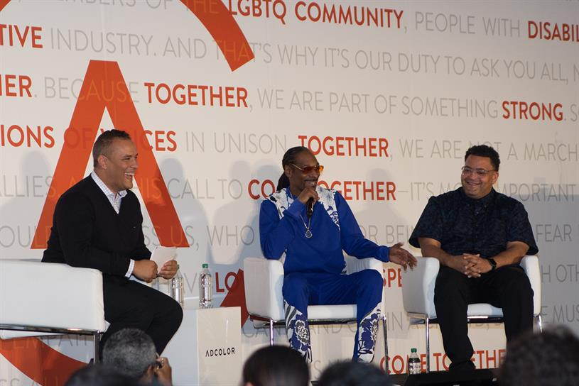 (L to R) Doug Melville, chief diversity officer, TBWA; Snoop Dogg; Ryan Ford, CCO, Cashmere. Photo: Ashley E. Osborne