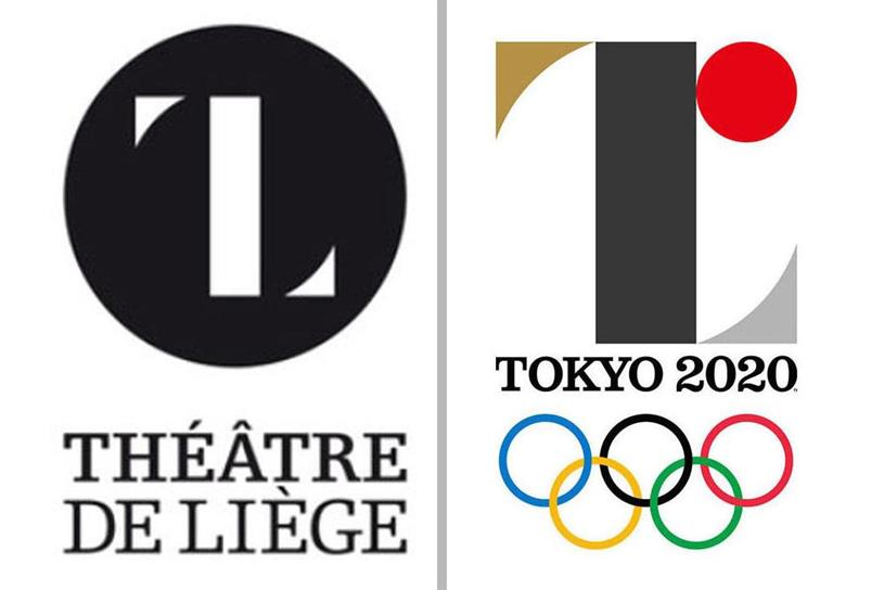 The creator of this Belgian theater logo (left) accused the Tokyou Olympics symbol of copying his design.
