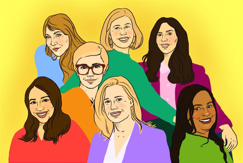 Illustration by Kelsee Thomas of the all-female leadership team. Top row: Fiona Hughes, Alexa Tonner, Natalie Silverstein; Middle: Ryan Stern; Bottom: Angelita Sierra, Amy Luca, Rashmi Nigam