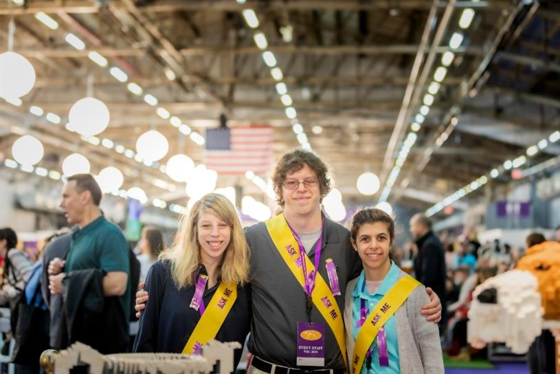 (Photo credit: Whitnee Shulman Photography) Brendan Lemieux, Gianna Morello and Laura Parrell working at the Westminster Kennel Club Dog Show in fair wage integrated positions.