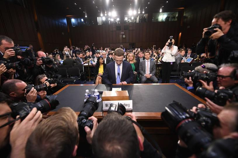 Facebook CEO Mark Zuckerberg testifies at a joint hearing of the US Senate Commerce, Science and Transportation Committee and Senate Judiciary Committee in 2018 (Getty Images).