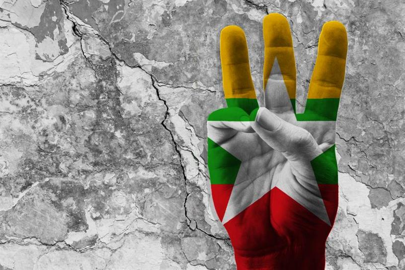 The three-finger gesture has become a symbol of protest in Myanmar.(Shutterstock)