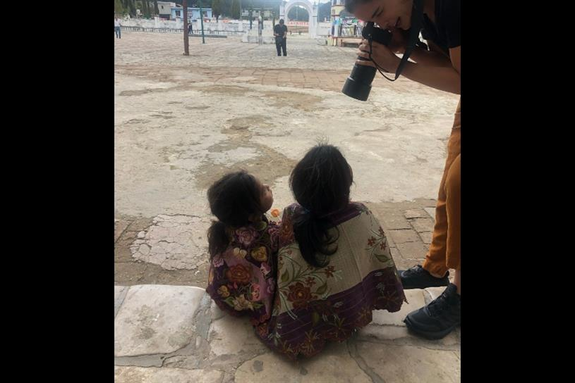 Ana de Diego photographing girls in Chiapas during the Herbal Essences production.