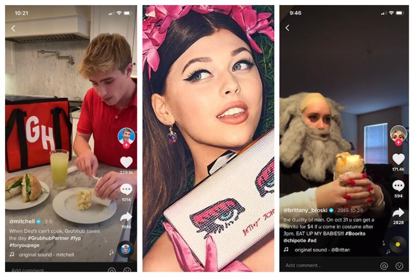 Mitchell Crawford, Loren Gray and Brittany Broski post for Grubhub, Betsey Johnson and Chipotle.