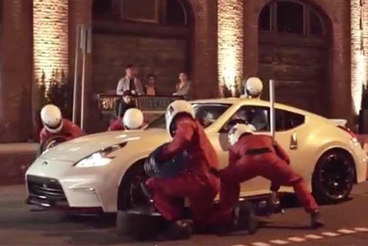 "A scene from Nissan's ""GT Academy"" prank video."