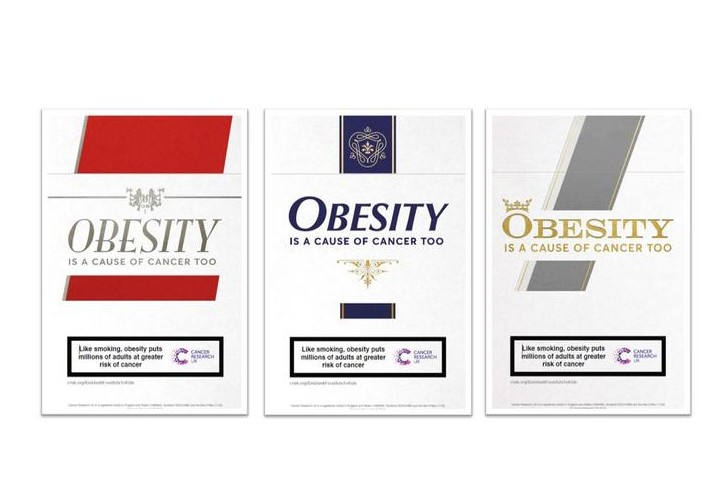 Imagery from Cancer Research UK's obesity campaign