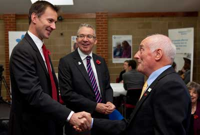 Launch: (from left) Hunt, Hughes and a charity supporter