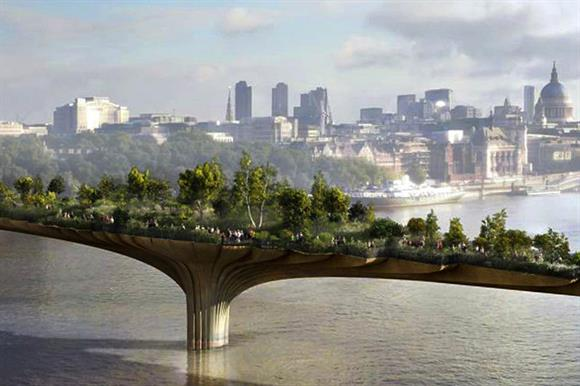 An artist's impression of the Garden Bridge