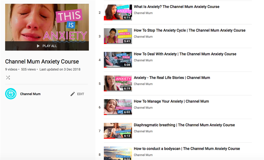 Best use of Celebrity and/or Influencers winner: the Channel Mum Anxiety Course