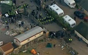 Dale Farm: Image taken from the BBC's live coverage of the eviction.