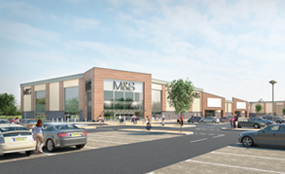 A visualisation of the retail park in Doncaster Road, Scunthorpe