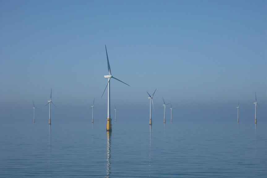 Wind turbines off the coast of Cumbria. Image: Flickr / TEIA