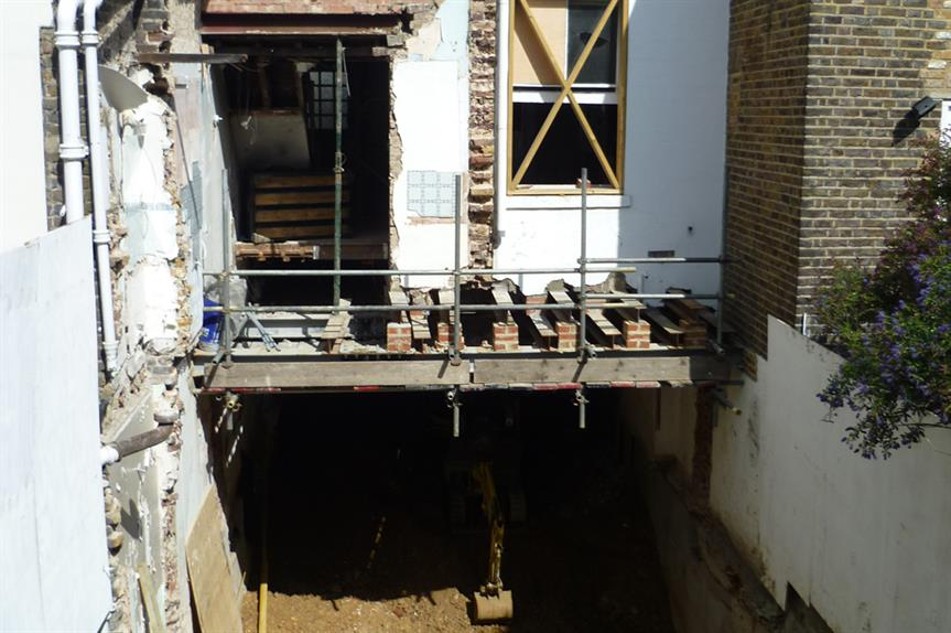A basement excavation at a house in London. By Charlie Dave, Flickr
