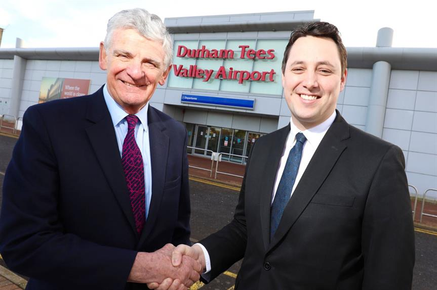 Peel Airports chairman Robert Hough, left, with Tees Valley mayor Ben Houchen
