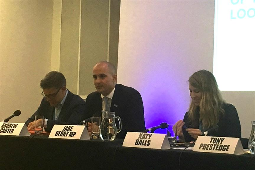 Local growth minister Jake Berry (centre) speaking at a Conservative Party Conference fringe event on Monday