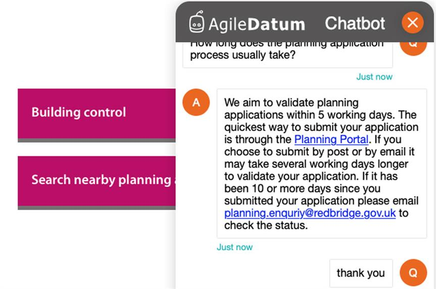 The Redbridge Council planning chatbot (pic: Agile Datum)